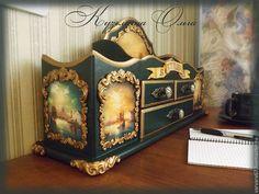 Купить органайзер Старый город - тёмно-зелёный, органайзер, канцелярия, бронзовая фурнитура, полимерная глина