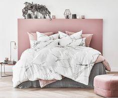 Dwustronna pościel z bawełny renforcé Malin, Przód: biały z szarym, marmurowym wzorem, Tył: szary Pink Bedroom Decor, Gold Bedroom, Marble Bedding, Cute Room Decor, Suites, Dream Rooms, My New Room, Home, Bed Linen