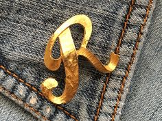 MAMSELLE Vintage Letter R Brooch Pin Signed Gold Tone Initial Monogram man/woman #Mamselle