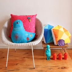 Lovely things from Beci Orpin 's latest range Friendly faces! Beci Orpin is a bit clever, isn't she. Kids Stockings, African Dolls, Bird Pillow, Wooden Figurines, The Design Files, Crafts For Girls, Baby Design, Decoration, House Warming