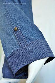 На сей раз джинсы. Здесь  удлиняли брюки.  Коротки стали. Износ не значительный, так что решила над ними немного пошаманить.  Джинсы эти,...