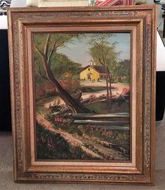 Large Vintage Original Oil on Board Landscape signed by artist F.G. Strain by Curioshop1 on Etsy