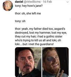 Poor Thor 💔<< he's still the happy Thor that we all know, that's my goal. Be happy like Thor. No matter what challenges are thrown your way, keep your head held high and your happiness on peak Funny Marvel Memes, Dc Memes, Avengers Memes, Marvel Jokes, Marvel Films, Disney Marvel, Marvel Dc Comics, Marvel Avengers, Marvel Universe