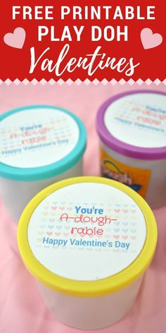 "With this ""You're A-dough-rable"" Play Doh Valentine printable you can turn a plain jar of playdough into a Valentine's Day gift that is perfect for kids to give their classmates or their teachers. #ValentinesDay #Valentine #PlayDough"