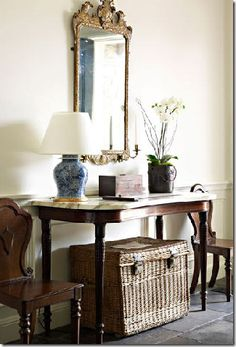 Pretty and simple. From Cote de Texas Foyer Mirror, Entry Hallway, Entryway Tables, Hall Tables, Mirrors, Foyer Bench, Table Mirror, Upstairs Hallway, Side Tables