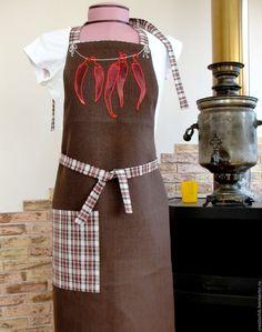 Купить Фартук для кухни Красный огненный перчик - коричневый мужской фартук…