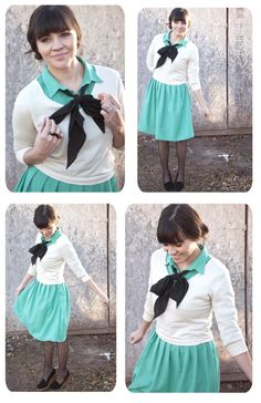 cute. black tights, shoes, & bow make otherwise springy light blue & white suddenly winter appropriate.