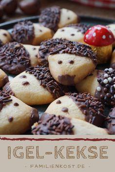 Igelkekse backen – einfaches Rezept für tolle Kinderkekse aus Butter-Mürbeteig für den Herbst Ober Und Unterhitze, Cupcakes, Cookies, Desserts, Food, Baking Cookies, Mudpie, Crack Crackers, Tailgate Desserts