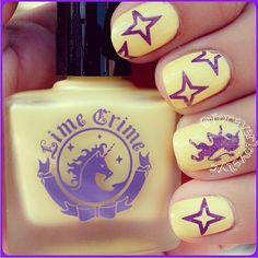 We  anything unicorn-themed! Nails by foreverlovelyc, using Crema de Limon nail polish.