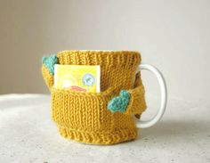 Cozy Mug Sweater with Pocket in Mustard by mugsweater on Etsy