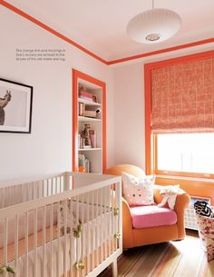 paint trim colors blush pink nursery with neon orange trim