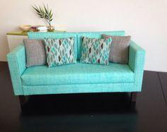 """Doll Sofa,Aqua blue, Dollhouse furniture, 1:6 scale,playscale, 10""""- 12"""" dolls"""