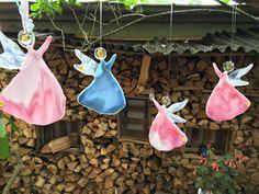 Fliegende Engel in rosa und blau aus geschmolzenem Glas- Unikate zum Kaufen! fusing glass angel