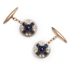 Sapphire and diamond cufflinks set in gold and platinum. English, ca. 1930