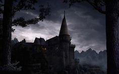 Spooky castle wallpaper