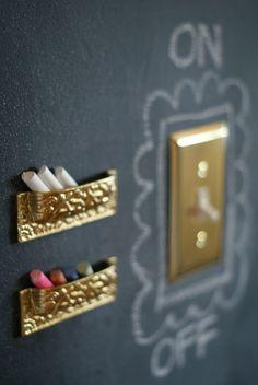 Upside down drawer pulls for chalk holders
