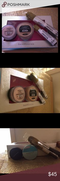 Bare minerals set new & authentic Set includes bronzing mineral veil 6g, clear radiance 0.85g, full flawless face brush, mini full flawless face brush, and shimmering bare minerals box all new & sealed bareMinerals Makeup Bronzer