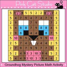 Groundhog Mystery Picture Math Activity: Your students will have a blast uncovering this cute groundhog by using their math skills.