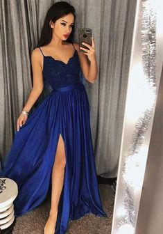 Royal Blue Slit Long Prom Dress Custom Made School Dance Dress Fashion Graduation . - Royal Blue Slit Long Prom Dress Custom Made School Dance Dress Fashion Graduation Party Dress - Homecoming Dresses Long, Royal Blue Prom Dresses, Straps Prom Dresses, Ball Dresses, Evening Dresses, Ball Gowns, Wedding Dresses, Prom Long, Sweet 16 Dresses Blue
