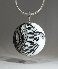 Black and White Abstract Art Glass Focal bead- lampwork by Astrid Riedel. $125.00, via Etsy.