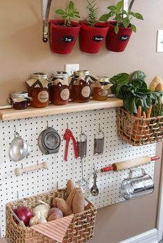 Store baskets of food right next to the tools you use to prepare it, thanks to a pegboard's versatility. See more at The Decor Fix »  - GoodHousekeeping.com