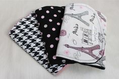 Set of 3 Black and Hot Pink Glitter Paris Eiffel Tower, Polka Dot, and Houndstooth Minky and Cotton Burp Cloths on Etsy, $27.00