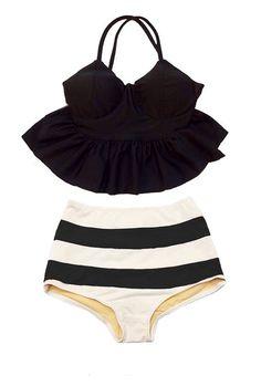 Black Strap Long Peplum Tankini Top and Striped High Waisted Waist Shorts Bottom Swimsuit Bikini set Swimwear Swimming Bathing suit S M L