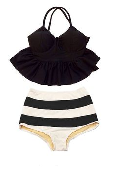 Black Strap Long Peplum Tankini Top and Striped High Waisted Waist Shorts Bottom…