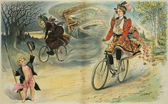 """""""Good luck to you! No punctures, no breakdowns, and easy roads!""""    Centrefold in Puck magazine, January 5th, 1898"""