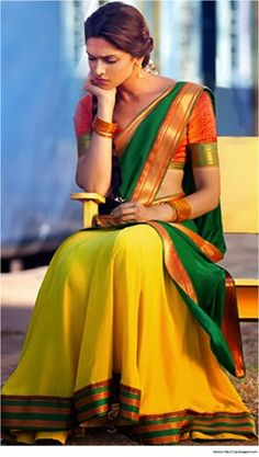 Lovely half saree design for attending a wedding - yellow, green and orange