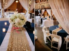 #kfb_events #prattplaceweddings #goldsequin #navyandgold #barnwedding | white wood chair | pip and drape | white sheer drapes