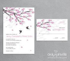 Love Birds Cherry blossom Sakura - Printable Wedding Invitation DIY asian oriental style. $20.00, via Etsy.