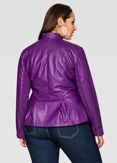 Leather Peplum Blazer Jacket - Ashley Stewart