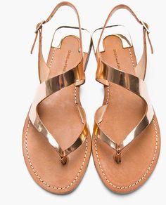 Diane Von Furstenberg Rose Gold Metallic Leather Daphne Sandals in Pink (rose) - Lyst