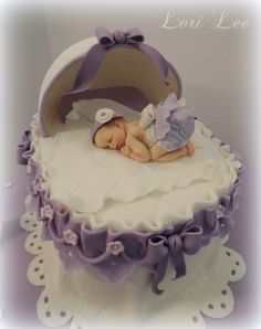 Cakes by Lori Lee ~ Baby Shower Cakes - Detail view of Baby Shower Bassinet Cake.