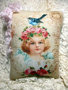 Pink ROSES Girl Pillow Crown of Roses Shabby by ThePeonyShanty