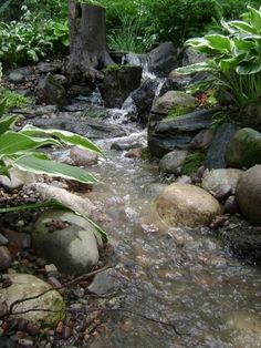 Natural-looking backyard water course