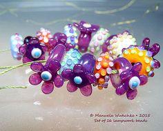 Künstler Glasperle Lampwork - Sweet Sugar Pink Flowers - Set - handgemacht von Glassartist Manuela Wutschke