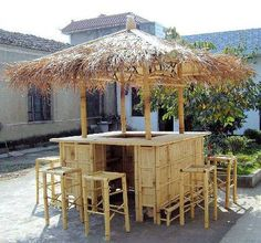 Island Style Natural Bamboo Tiki Style Bar - something like this, but probably rectangular instead of square, open in back.