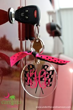 Preppy Monogram Racing Keychain