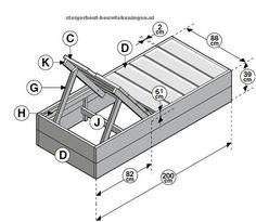 Doe het zelf #tuinbed #bouwtekening voor een tuin ligbed van steigerhout.