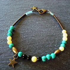 Bracelet Manon - étoile bronze et perles semi-précieuses : howlite turquoise  /  jade citron / jade facettée noire