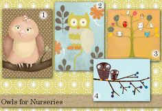 Great Owl Themed Wall Art for the Nursery from Oopsy Daisy, Fine Art for Kids