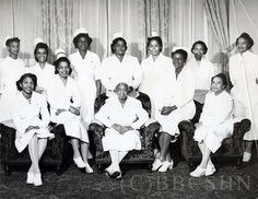 Mercy Hospital Nursing Staff with Miss Lula G. Warlick at center: Earnestine Eller, Fredericka Jones, Thelma Johnson Smith,Viola Terrell White, Eva Taylor Kinzer Reid, Eleanor Cain, Nora Lloyd Norman, Alberta Martin, Frances  Young, Alvie Madison, and Dorthy Maguire (dietician). Image courtesy of the Barbara Bates Center for the Study of the History of Nursing.