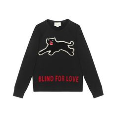 Gucci Cotton sweatshirt with panther ($890) ❤ liked on Polyvore featuring tops, hoodies, sweatshirts, animal print tops, embroidered sweatshirts, animal print sweatshirt, gucci tops and gucci