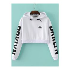 SheIn(sheinside) White Letter Print Hooded Crop Sweatshirt (455 ARS) ❤ liked on Polyvore featuring tops, hoodies, sweatshirts, white, crop top, pullover hoodies, white hoodie, cropped sweatshirt and sweatshirt hoodies