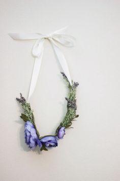 Lavender Herb and Periwinkle Flower Crown