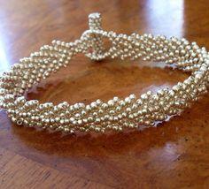 Artisan silver bead bracelet seed bead by AmyKanarekDesigns