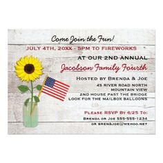 "Sunflower July 4th Party, Reunion, BBQ Invitation 5"" X 7"" Invitation Card Use our flag and flower invitation for Memorial Day, Flag Day, July 4th, Labor Day and Veteran's Day celebrations or remembrances. See our matching Save the Date postcard below: Sunflower July 4th Party or Reunion Save the Date Postcard by CustomCardsStudio #july #4th #party #invitations #4th #of #july #party #invitations #july #4th #family #reunion #invitations #independence #day #party #invitations #memorial #day…"
