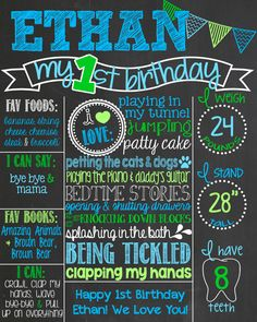 Chevron Blue and Green First Birthday by PersonalizedChalk on Etsy, $34.00